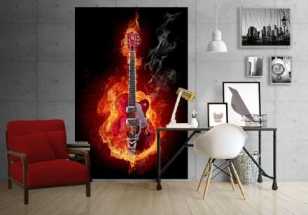 Burning red guitar wallpaper for wall - S